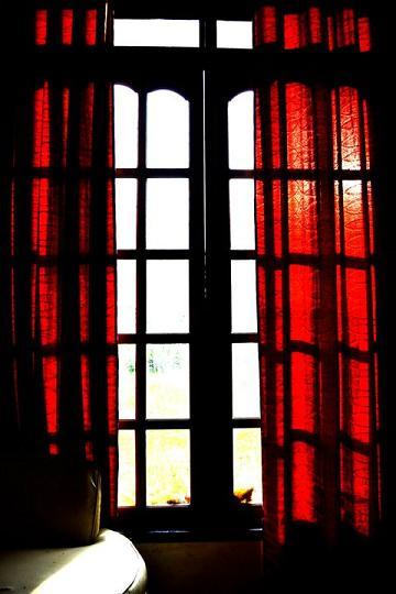 windows, red curtain