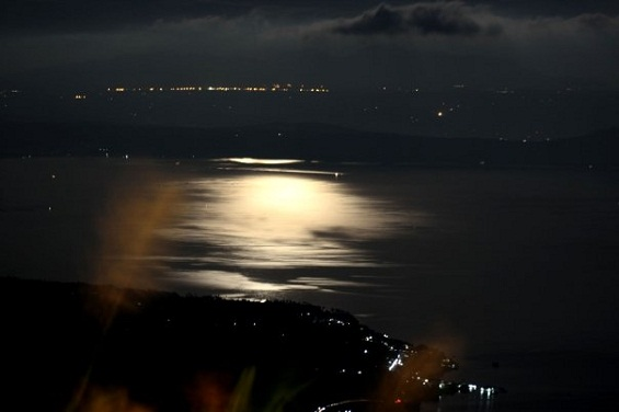 lake at night, city lights reflections on water, background photo, moon shining over water, moon shining like sun, night, affair