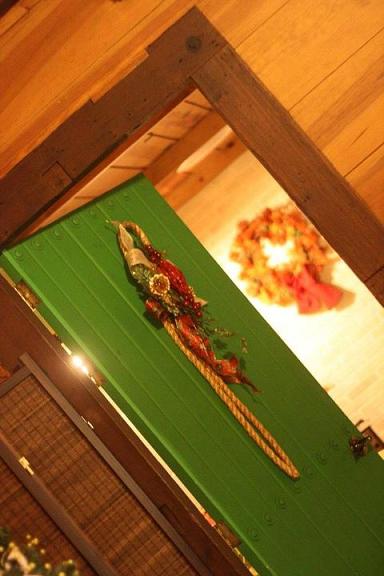 door, wreath, christmas, green