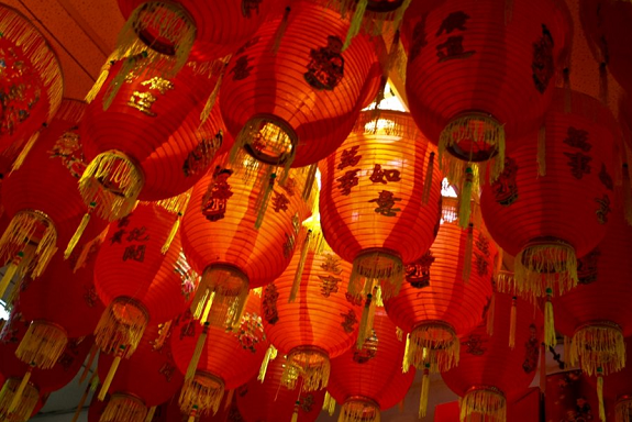lanterns, red, fire, dragon, chinese new year