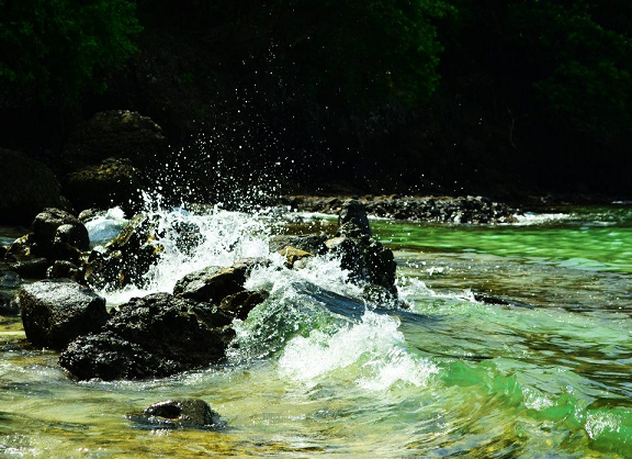 water, waves, river, green, cleanse