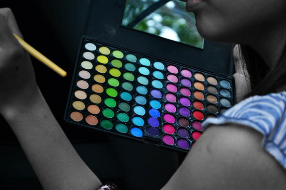 make-up palette, cosmetics, eye shadow, colors, paint