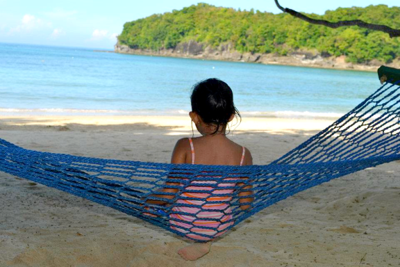 beach, hammock, child, shore, lazy afternoon, little girl