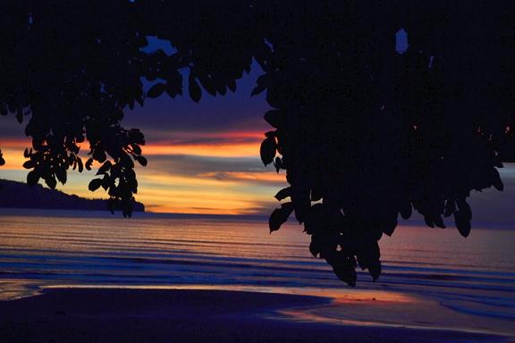 sunset, moonrise, purple, twilight