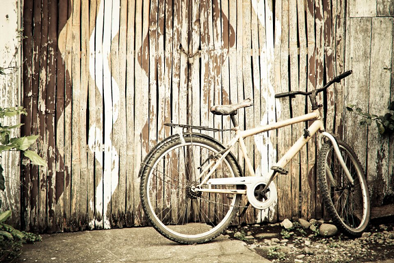 bike in sepia, bike in biliran island, bike and fence, nostalgic-feel