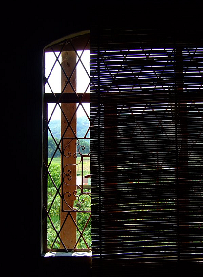 window, bamboo blinds, farm, dark room