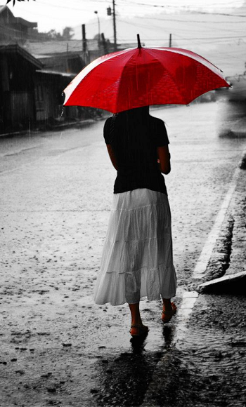 girl with a red umbrella, walking in the rain