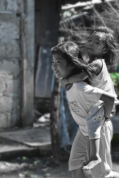 children, piggyback ride