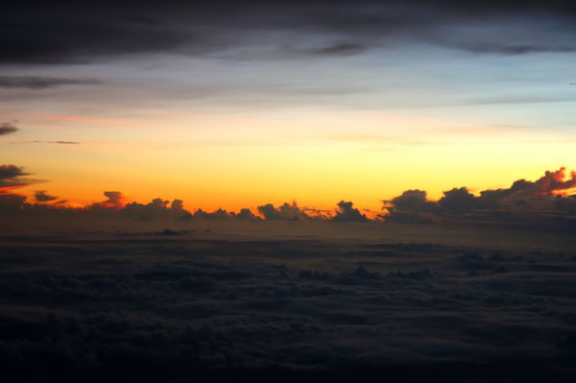 dawn, sky, airplane